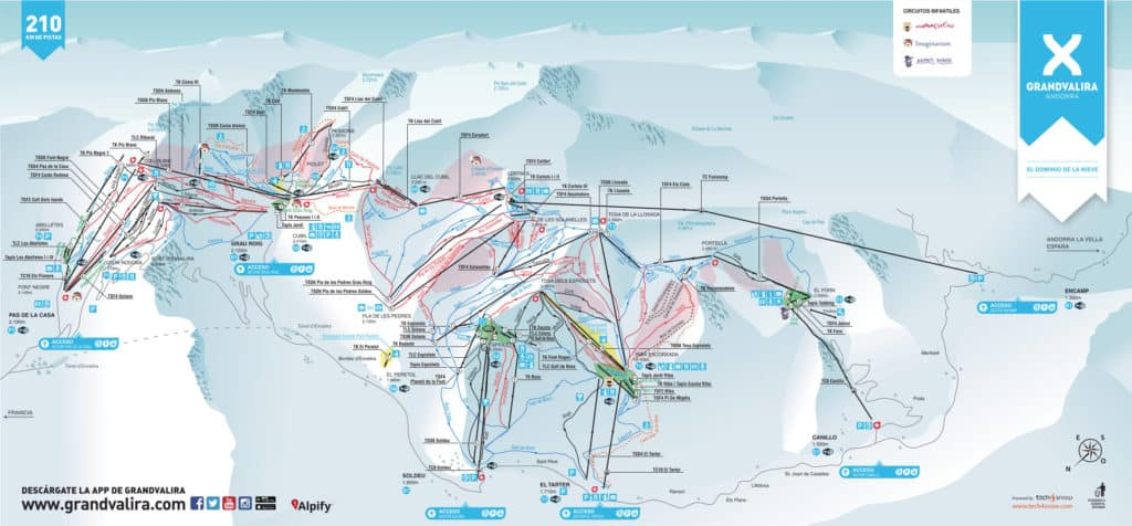 As this Andorra ski resort map shows, Grandvalira is a sprawling resort.