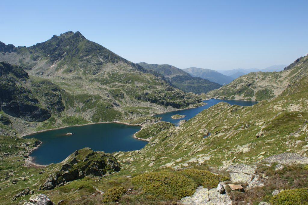 Looking down on the beautiful Tristaina Lakes is a breathtaking scene.