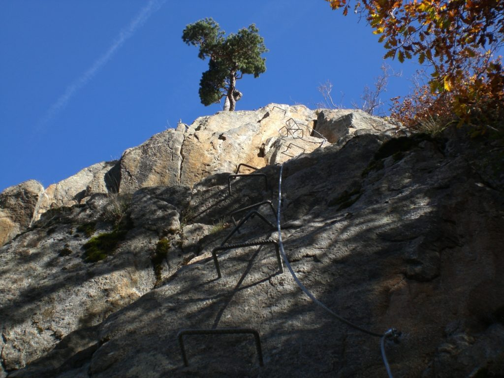 Via Ferrata like this one at Roc d'Esquers make it possible for hikers to mix in a bit of rock climbing.