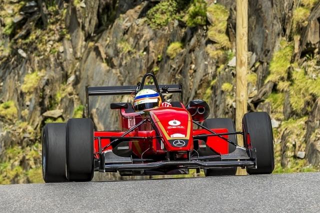 Red Mercedes racing La Pujada in Andorra