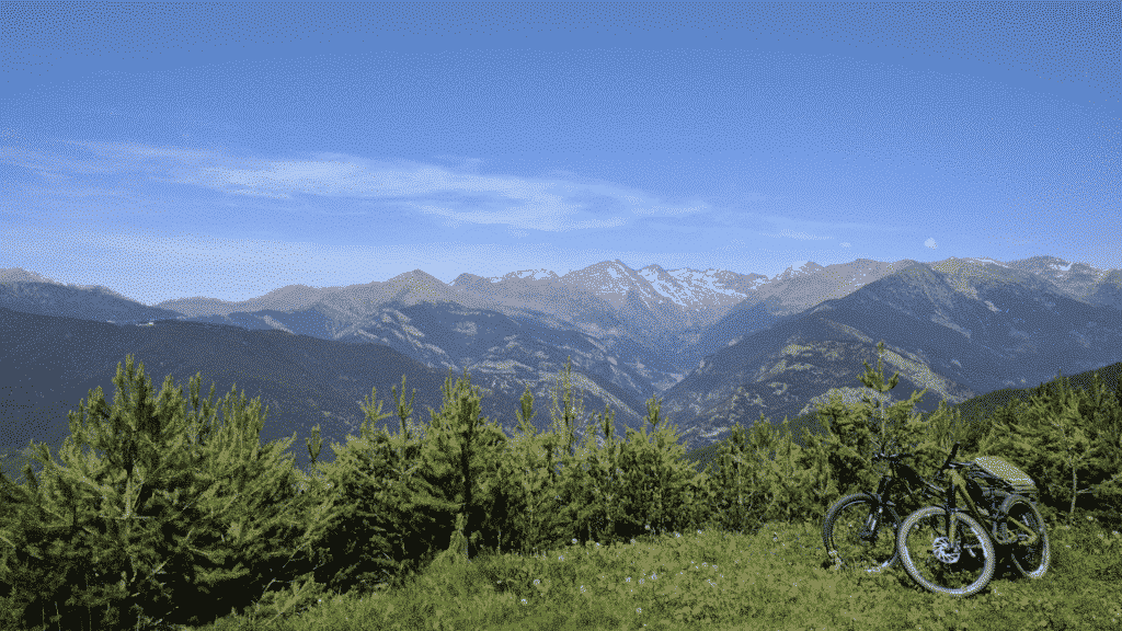 A beautiful view rewards bikers who climb up Beixalis, Andorra.