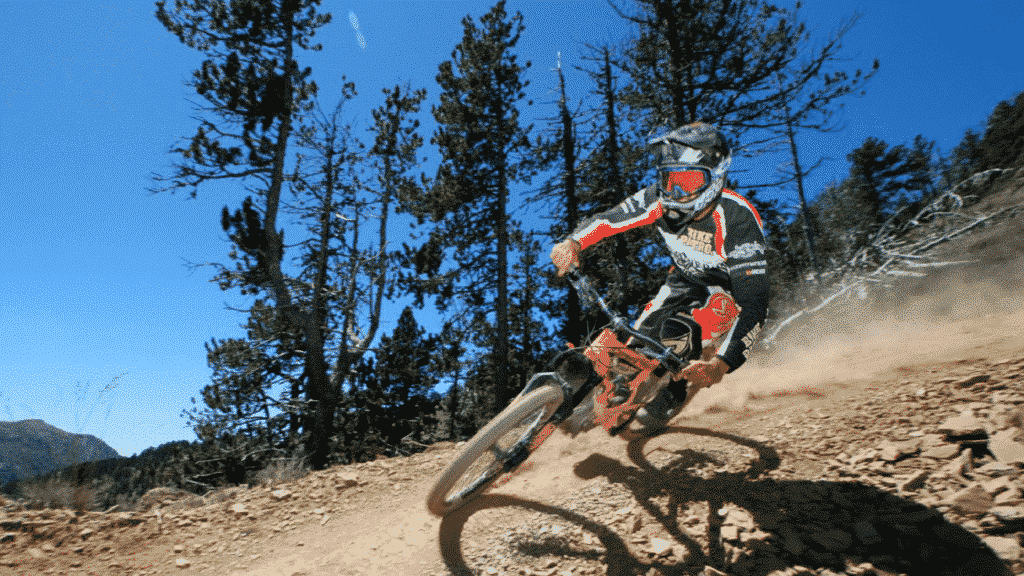 Mountain biking at Vallnord Bike Park, Andorra.